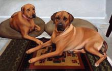 An oil painting of two Rhodesian Ridgeback dogs.